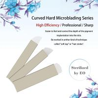 Buy cheap Private Labeling Nano Dia. 0.18mm 10 / 12 /13 / 14 Pin Hard Microblading Blades Gold Hard PMU Blades For Eyebrows from wholesalers