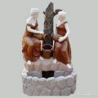 Buy cheap Two Ladies Type Marble Stone Carved Statues Wall Fountain Sculpture Customized Size from wholesalers