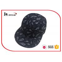 Buy cheap Custom print 100% polyester 6 panel cap mens black baseball cap from wholesalers