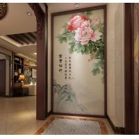 Buy cheap Peony Leaf Faux Leather Wall Covering Bamboo Fiber 3D Decorative Wall Panels from wholesalers