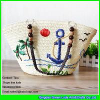 China LDMC-072 wholesale embroidery ship spear straw totes beaded shoulders straw bags on sale