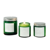 Buy cheap Spot wholesale custom tags aluminum cover green brown glass candle cup product