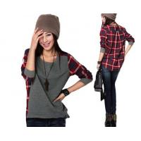 Buy cheap New fashion Long Sleeve plaid Bottoming Shirt women Female sweater S M L XL XXL size Loose from wholesalers