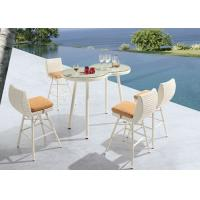 Buy cheap Unique 5 Piece Patio Bar Set White Rattan Garden Furniture with Glass Table from wholesalers