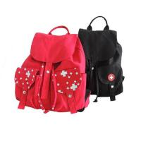 Buy cheap Red And Black Custom Logo Backpacks , Canvas Drawstring BagsWith Pull String from wholesalers