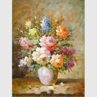Buy cheap Abstract Floral Still Life Oil Paintings Colorful Flowers Vase Canvas Painting product