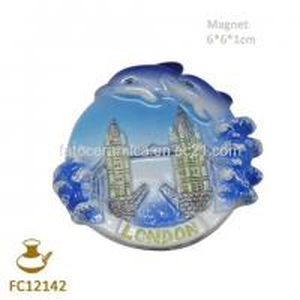 China FC12142 Round Ceramic Dolphin Refrigerator Magnet on sale