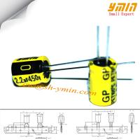 Buy cheap 2.2uF 450V 8x9mm Capacitor GP Series 105°C 4,000 ~ 6,000 Hours Radial Lead Aluminum Electrolytic Capacitor RoHS from wholesalers