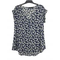 Buy cheap Soft Fashion Ladies Blouse Short Sleeve Blue Printing Color Different Size from wholesalers