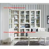 Buy cheap Reading room Neoclassical Furniture by White Bookcase set with glass door and Computer working desk product