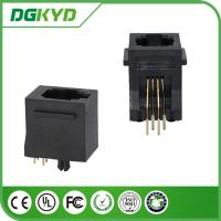 Buy cheap 180 degree Tab Up Female RJ11 Jack Without Shield , Housing Black 4p4c Jack from wholesalers