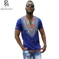 Buy cheap Dashiki African Men T-Shirt Wax Print Fabrics Tops Clothes Cheap Price from wholesalers