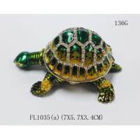 Buy cheap Lucky jeweled trinket boxes green  turtle trinket box metal  turtle jewelry box from wholesalers