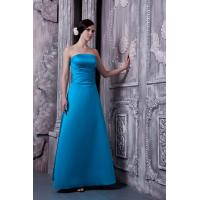 Buy cheap Simple Strapless A Line Blue Satin Bridesmaid Gown Sale from wholesalers