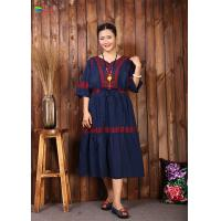 Buy cheap Navy Blue Embroidered Cotton Dress Women Elegant And Comfortable Tunic from wholesalers