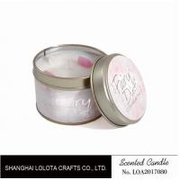 Buy cheap Small Soy Tealight Candles , Tin Can Candles Raspberry / Amber Fragrance from wholesalers