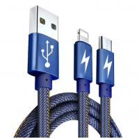 Buy cheap 2 In 1usb Data Cable , Usb Data And Charging Cable Jeans Fabric For Android And Ios Phones from wholesalers