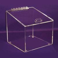 Buy cheap Square 3mm Clear Acrylic Storage Boxes High Quality Donation with Lock product