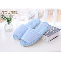 Fresh Blue Coral Fleece Disposable Hotel Slippers Open Toe Customised Size