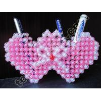 Buy cheap acrylic beaded double heart pen container beads handicraft product