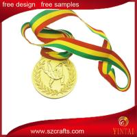 Buy cheap Gold plated sport medal , custom metal ribbon medal from wholesalers