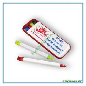 China plastic combo pen set, ball pen, highlighter ,mechanical pencil, pen box set on sale