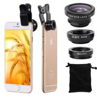 Buy cheap Universal Fisheye Macro Cell Phone Camera Lens , 3 In1 Cell Phone Wide Angle Lens product