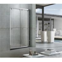 China Bright Stainless Steel Double Clear Glass Sliding Shower Doors With Axe Shape Roller on sale