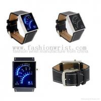 Buy cheap Fan Watch Dial PU Leather Band Blue LED Watch from wholesalers
