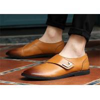 Single Buckle Monk Shoes , Men'S Genuine Leather Dress Shoes No Lace