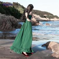 Buy cheap Chiffon style empire waist green maxi long one piece dresses modern lady casual autumn dress with low price from wholesalers
