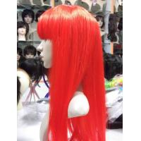 Buy cheap Red Colored Silky Straight Bang Human Hair Synthetic Full Lace Wigs For Women from wholesalers