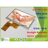 4.3 Inch Touch Screen High Brightness TFT Display 1000Cd / M² 480 X 272 Resolution