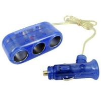 Buy cheap Blue 1 To 3 Car Socket Splitter , Portable Car Cigarette Lighter Adapter from wholesalers