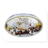 Buy cheap Oval Tea Tin Canister With Inner Golden Color Metal Box Custom Print Accepted product