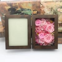 Buy cheap Natural Everlasting Preserved Flower Red Rose Gift Wood Photo Frame for Wedding Decoration gift from wholesalers