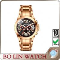Buy cheap Gold Chronograph 30atm Water Resistant Stainless Steel Sports Watch IP Plating from wholesalers