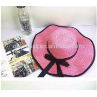 Buy cheap 2017 best price direct manufactuer with satin buttlefly natural grass D35CM women cheap summber straw hats from wholesalers
