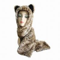 Buy cheap Oversize/Long Hats, Winter Leopard Print Long Trooper with Fake Fur Front, Earflap, Fleece Lining from wholesalers