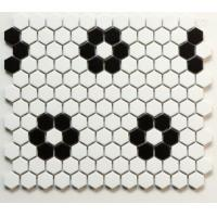 Buy cheap Black And White Flower Shape Ceramic Hexagon Mosaic Tile 260x300mm product