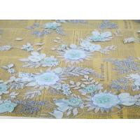 Buy cheap Embroidery 3D Floral Wedding Dress Lace Fabric By The Yard With Beads Light Blue from wholesalers