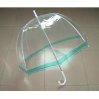 Dome Shaped See Through Umbrella Green Edge White Plastic Tip High Density Fabric