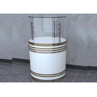 Buy cheap Wooden White Custom Glass Display Cases Fashion Round Shape With LED Pole Lighting from wholesalers