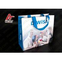 C1S Card Paper Christmas Present Bag , PP Flat Ribbon Christmas Brown Paper Bags