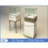 Buy cheap High Square Glass Jewelry Display Case With Lights Logo / Shop Glass Display Cabinets product