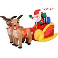 Buy cheap Outdoor Waterproof Nylon Santa And Reindeer Inflatable With Sled Christmas Decoration from wholesalers