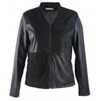 Buy cheap V Neck Ladies Slim Fit Womens Faux Leather Jackets Long Sleeve With Zipper from wholesalers