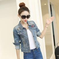 Buy cheap Quick Dry Free Size Womens Cropped Denim Jacket Tailoring Slim Fit Casual Style from wholesalers