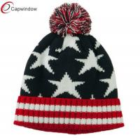 Buy cheap American Flag Pom Knit Beanie Winter Hats Acrylic for Adult / Unisex from wholesalers