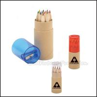 Buy cheap Customed promotion 12pcs set Printed logo Eco wooden coloured pencil with pencil sharpener from wholesalers